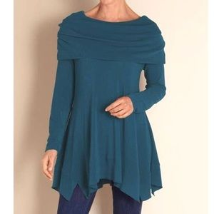 Soft Surroundings B'Call Tunic Top Cowl Neck Teal